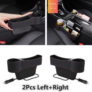 2x PU Leather Dual USB Car Left+Right Seat Gap Organizer Storage Box Cup Holder