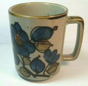 """Otagiri Stoneware Mug Blue Flowers Speckled Coffee Cup 4"""" Vintage Cottagecore"""