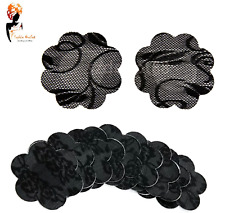 BLACK  ADHESIVE NIPPLE COVERS Flower Shaped Modesty Pads Bra Less 3 Pairs UK