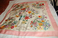Gucci Silk Floral Pink Edges Square Wrap Scarf Showl Made in Italy