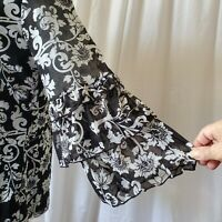 CHARTER CLUB Top M / L Floral Print Double Ruffle Sheer Bell Sleeve Lined