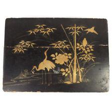 Vintage Black Japanese Hand Painted Crane Bird Design Jewelry Organizer Box 10.7