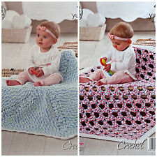 CROCHET PATTERN Baby Easy Crochet Round/Square Blanket YummyChunky KingCole 4678