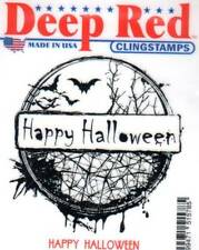 New CLING Deep Red Rubber Stamp HAPPY HALLOWEEN CIRCLE BAT Free USA Ship