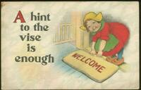 Little Dutch Girl Putting Out the Welcome Mat Wishing You Welcome 1915 Postcard