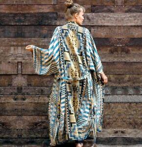 Beige Teal Blue Boho Ethnic Holiday Beach Coverup Kimono Kaftan Jacket 12 14