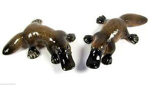 Miniature Ceramic Hand Painted Australian Native Platypus - Set/2 Figurines