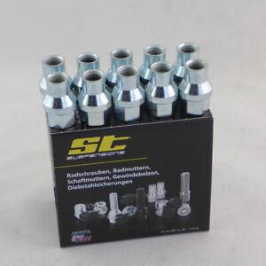 ST Schaftmuttern silber 10x M12x1,5 Kegelbund 60 Grad D:15,7mm L:17,5 56110396