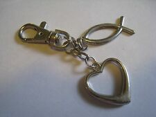 Silver Tone Key Chain With Fish & Heart Charms