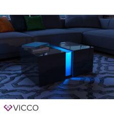 VICCO LED Couchtisch Schwarz Hochglanz Loungetisch Wohnzimmer Tisch Sofa-Tisch