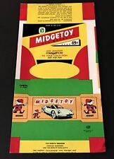 VINTAGE MIDGETOY UNMADE TOY BOX CARD - FROM MIDGETOY ARCHIVES!