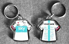 TEAM SKY t-shirt/jersey keyring cycling, Tour de France (personalised 2018 only)