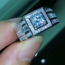 Size 8,9, 10,11 Luxurious Men White Topaz 18K Gold Filled Wedding Band Ring Gift
