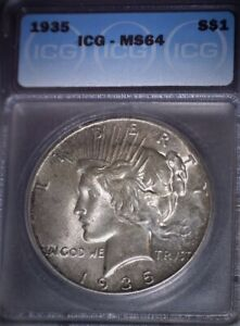 1935  Peace Silver Dollar ICG MS64, Original Patina, Issue Free