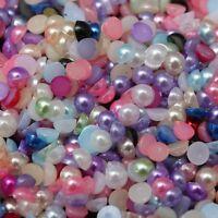 Lot 100 Pieces Demi Perles 4mm Mixte à coller, Decoration ongles, couture