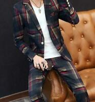 Mens Outdoor Plaid Blazer Suits Coat Trousers Slim Fit Jacket Business 2pcs New