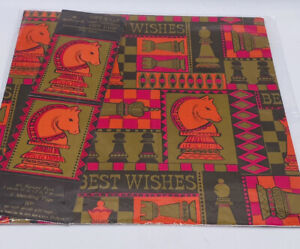 Vintage Hallmark for Men Gift Wrapping Paper House of Cards with Gift Tags New
