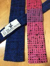 2 Vtg 1950/60 Tucker Ties Skinny MadMen Hipster dark blue, black wool; pink silk