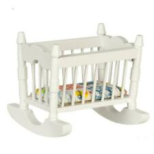 Dolls House White Wood Rocking Cradle Crib Cot Miniature Nursery Furniture