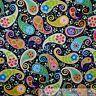 BonEful Fabric FQ Cotton Quilt Black Rainbow Paisley Flower Hippie Mod Girl Dot