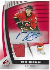 MARK GIORDANO 2017-18 SP Game Used Jersey Auto Red Calgary Flames
