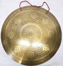 "F1053 Very Artistic Large Tibetan-Nepalese Hand Etched Temple Gong 21.75"" Nepal"