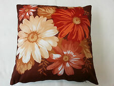 """1970s Vintage Floral Brown, Red Cushion Cover 41cm x 41cm (16"""" x 16"""" Approx.)"""