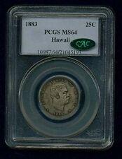 HAWAII KALAKAUA I 1883 QUARTER-DOLLAR/ 25 CENTS UNCIRCULATED CERTIFIED PCGS MS64