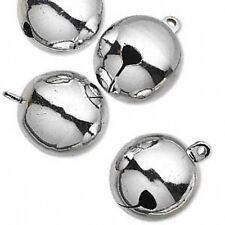 """Jingle Bells Christmas Holiday Craft Decor Jewelry 25mm 1"""" Silver Brass Lot of 4"""