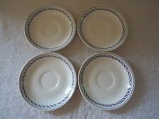 "Vintage Set Of 4 Adams "" Baltic "" Blue  / White Coffee Cup Saucers "" BEAUTIFUL """