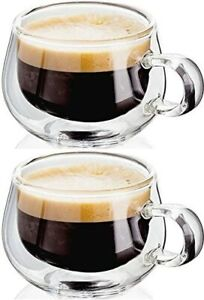 Judge Double Walled Espresso Glasses Coffee Cup with Handle Set 2 Glass Cups