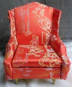 Ideal Petite Princess Dollhouse Fantasy Furniture Salon Wing Chair Red 1964