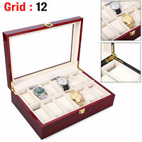 12 Grid Slot Watch Box Transparent Glass Display Organizer Watch  Wooden Box