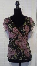 Ann Taylor LOFT Sheer Floral Twist Blouse with Tie Back Sz 0 Black Purple Top