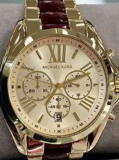 NWT MICHAEL KORS Bradshaw Ruby Red & Gold 43mm Japanese Quartz Watch MK6443