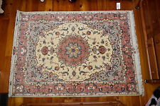 Beautiful Persian Tabriz 50 Raj Wool and Silk 5' x 7' Carpet