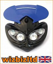 MotoCross MX Rage Bleu carénage d'off-road Phare Avec Supports HLURAGBU