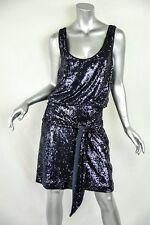 TORY BURCH Womens Navy Sequin Sleeveless Short Above-Knee Blouson Belted Dress M
