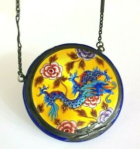 ANTIQUE GERMAN STERLING SILVER BLUE GUILLOCHE ENAMEL COMPACT WITH DRAGON