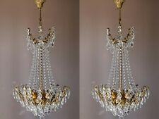 Matching Pair of Vintage Spider Style Cast Brass & Crystals Chandeliers lighting