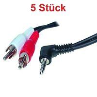 1,5m Chinch Kabel Adapter 2x Cinch AUX auf 3,5mm Klinke Kopfhörer Winkel Stecker