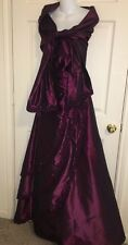 💕 Jovani Iridescent Bordeaux Beaded Layered Front Princess Kate Ball Gown 6 💕