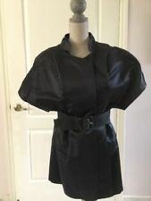 VERA WANG Blue Silk Short Sleeve V Neck Dress Size 4