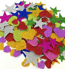 Foam Glitter Stickers, Star Mini Heart Shapes Self Adhesive for Arts Decorative