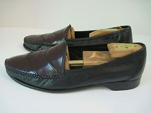 Bragano By Cole Haan Men's Black Leather / Burgundy Patent Loafers 12 M  Italy