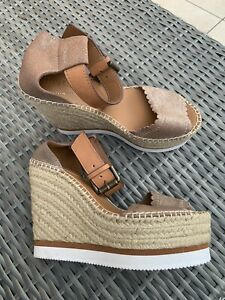 See By Chloé Tan & Rose Gold Espadrille Wedges Size EU 36