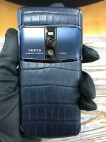 "Original Brand Vertu Signature Touch 5.2"" Pure Navy Alligator Super RARE"