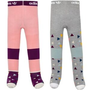 [2 Pair] adidas Tights Girls Baby Children Stockings Winter Pants Pink/Grey