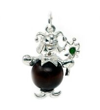 STERLING SILVER LUCKY TOUCH WUD WOOD JESTER  CHARM