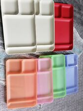 Tupperware Set of 4 Pastels/3 Solid Divided Lunch Camping Picnic Trays